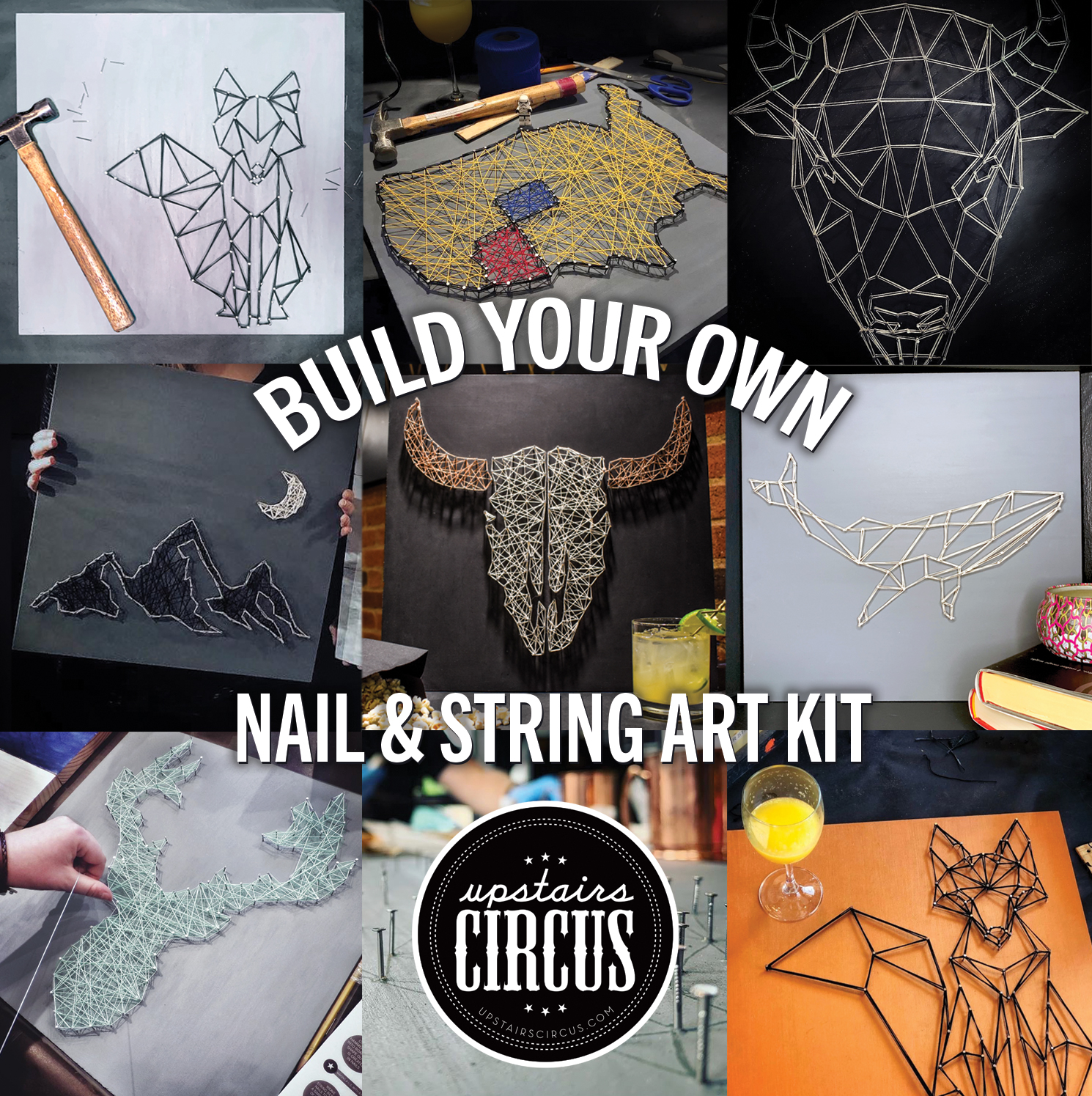 Build Your Own DIY Kit - Upstairs Circus At Home DIY Kits - Nail & String Art Kit