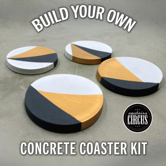 Build Your Own DIY Kit - Upstairs Circus At Home DIY Kits - Color-Block Concrete Coaster DIY Kit