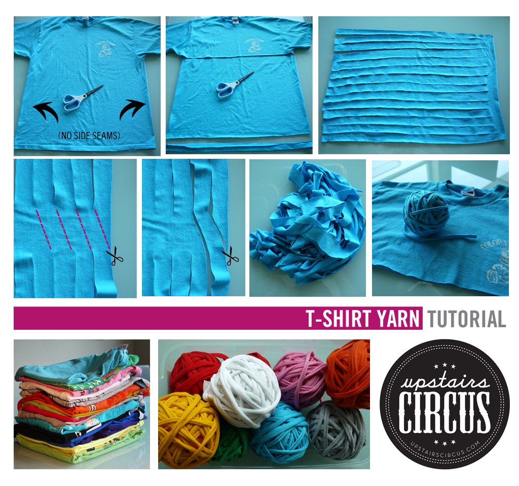 Upstairs Circus Step-by-Step T-Shirt Yarn Photo Tutorial